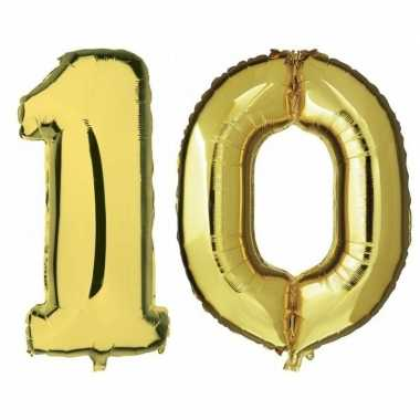 10 jaar gouden folie ballonnen 88 cm leeftijd/cijfer