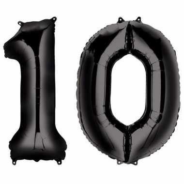 10 jaar zwarte folie ballonnen 88 cm leeftijd/cijfer