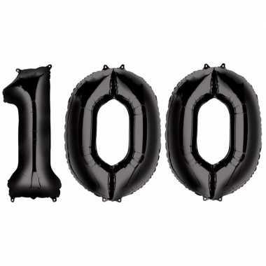 100 jaar zwarte folie ballonnen 88 cm leeftijd/cijfer