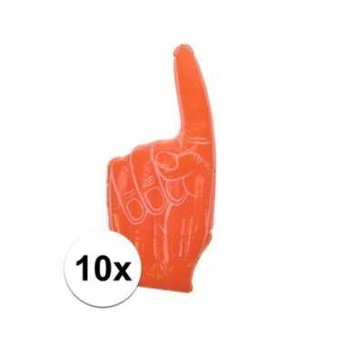 10x opblaasbare oranje supporters handen