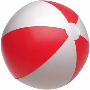 10x stuks opblaasbare strandbal rood/wit 28 cm