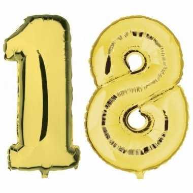 18 jaar gouden folie ballonnen 88 cm leeftijd/cijfer