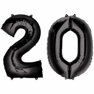 20 jaar zwarte folie ballonnen 88 cm leeftijd/cijfer