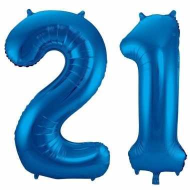 21 jaar blauwe folie ballonnen 86 cm leeftijd/cijfer