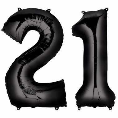 21 jaar zwarte folie ballonnen 88 cm leeftijd/cijfer