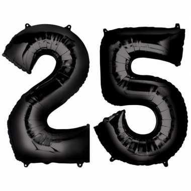 25 jaar zwarte folie ballonnen 88 cm leeftijd/cijfer