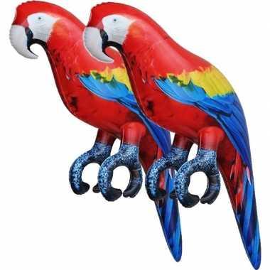 2x opblaasbare ara papegaaien vogels 25 cm decoratie/speelgoed