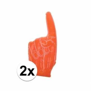 2x opblaasbare oranje supporters handen