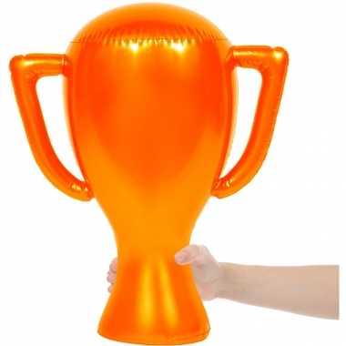 2x oranje opblaasbare cup 45 cm oranje artikelen