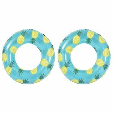 2x stuks opblaasbare zwembad banden/ringen ananas 90 cm