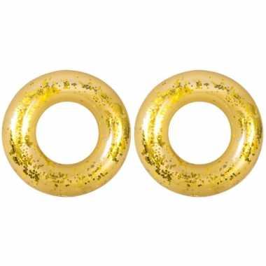 2x stuks opblaasbare zwembad banden/ringen goud 106 cm