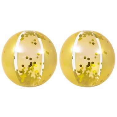 2x stuks opblaasbare zwembad strandballen goud van 50 cm