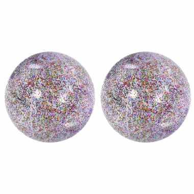 2x stuks opblaasbare zwembad strandballen van 50 cm