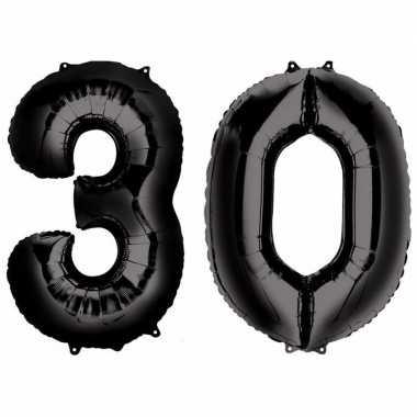 30 jaar zwarte folie ballonnen 88 cm leeftijd/cijfer