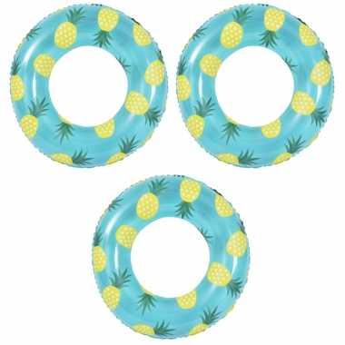 3x stuks opblaasbare zwembad banden/ringen ananas 90 cm