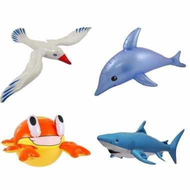 4x opblaasbare maritiem decoratie zeedieren type 1