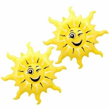 4x stuks opblaasbare decoratie zon 60 cm