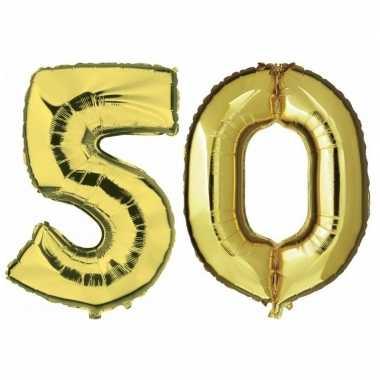 50 jaar gouden folie ballonnen 88 cm leeftijd/cijfer