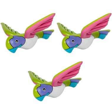 5x stuks opblaasbare decoratie papegaai 23 cm