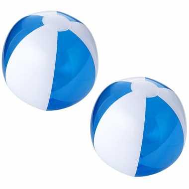 5x stuks opblaasbare strandballen blauw wit 30 cm