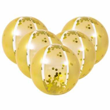 5x stuks opblaasbare zwembad strandballen goud van 50 cm