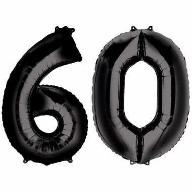 60 jaar zwarte folie ballonnen 88 cm leeftijd/cijfer