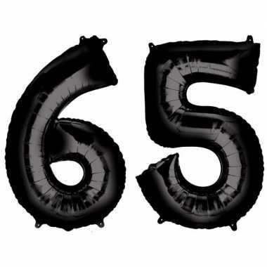 65 jaar zwarte folie ballonnen 88 cm leeftijd/cijfer