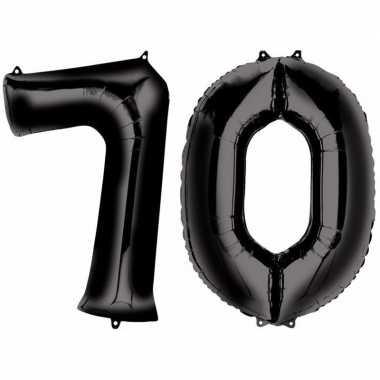 70 jaar zwarte folie ballonnen 88 cm leeftijd/cijfer