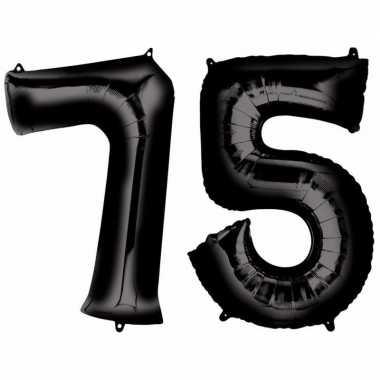 75 jaar zwarte folie ballonnen 88 cm leeftijd/cijfer