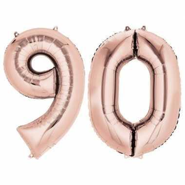 90 jaar rose gouden folie ballonnen 88 cm leeftijd/cijfer