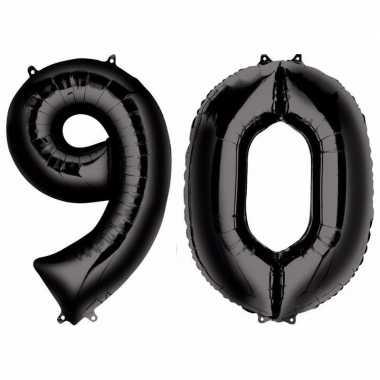 90 jaar zwarte folie ballonnen 88 cm leeftijd/cijfer