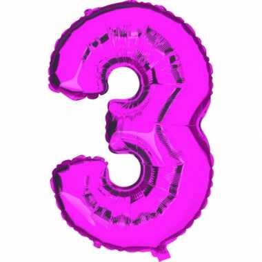 Cijfer 3 ballon roze