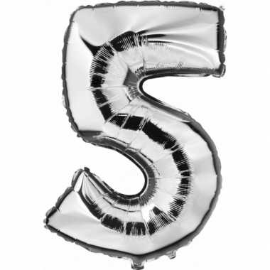 Cijfer 5 ballon zilver