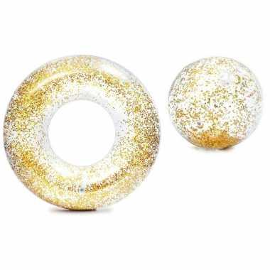 Intex set opblaasbare gouden glitter zwemband/zwemring met strandbal