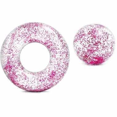 Intex set opblaasbare roze glitter zwemband/zwemring met strandbal