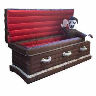 Opblaasbare doodskist met vampier en verlichting 200 cm