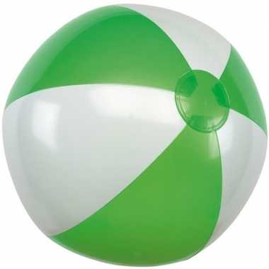 Opblaasbare strandbal groen/wit 28 cm