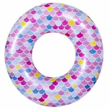 Opblaasbare zwembad band/ring zeemeermin schubben 90 cm