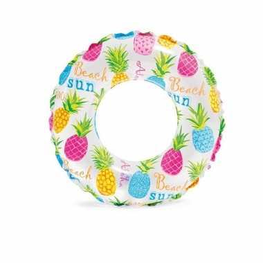 Opblaasbare zwemband met gekleurde ananas print 51 cm