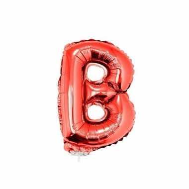 Rode opblaas letter ballon b op stokje 41 cm