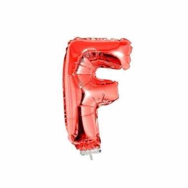 Rode opblaas letter ballon f op stokje 41 cm