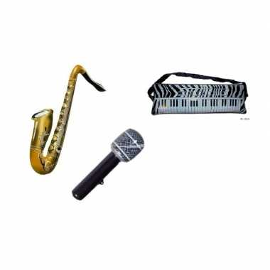 Set 3x opblaasbare muziek instrumenten