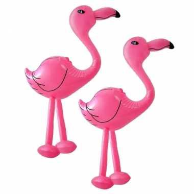 Set van 2x stuks opblaasbare dieren flamingos 60 cm