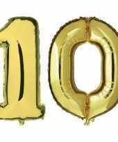 10 jaar gouden folie ballonnen 88 cm leeftijd cijfer
