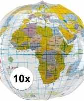 10x opblaasbare strandballen wereldbol 27 cm