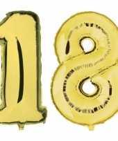 18 jaar gouden folie ballonnen 88 cm leeftijd cijfer