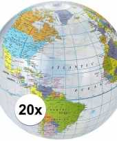 20x opblaasbare strandbal wereldbol