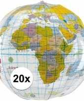 20x opblaasbare strandballen wereldbol 27 cm