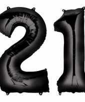 21 jaar zwarte folie ballonnen 88 cm leeftijd cijfer
