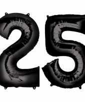 25 jaar zwarte folie ballonnen 88 cm leeftijd cijfer